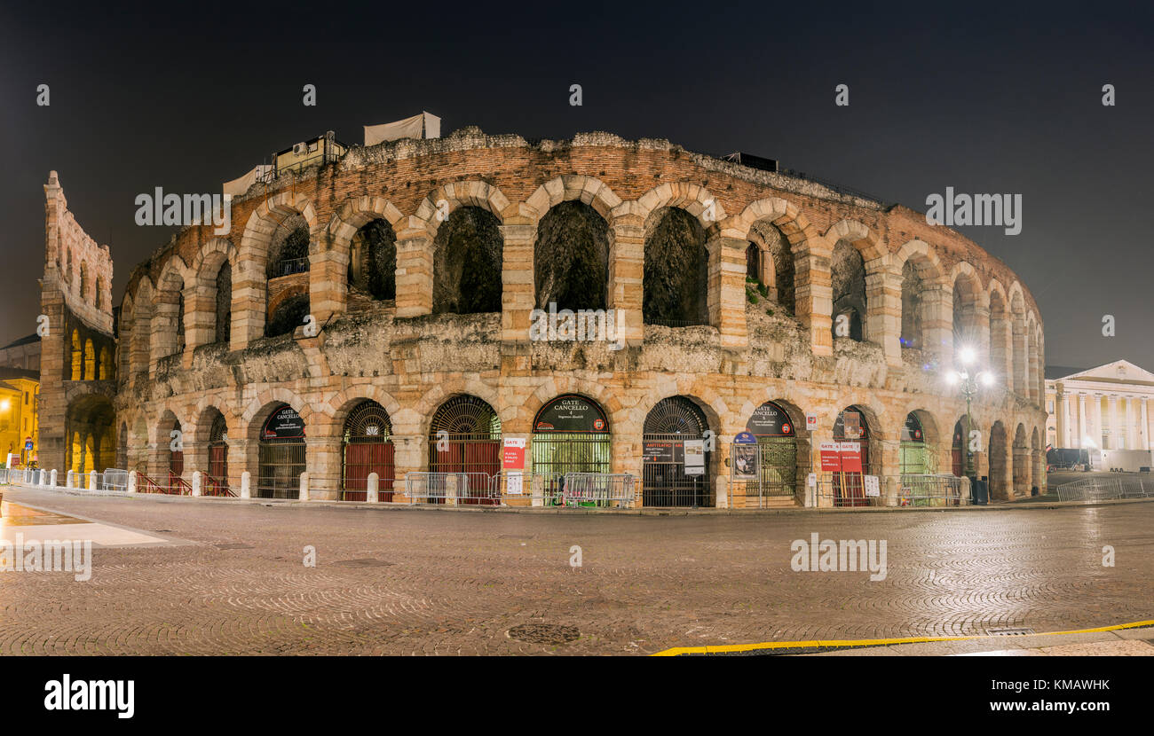 Night view of Verona Arena, Verona, Veneto, Italy - Stock Image