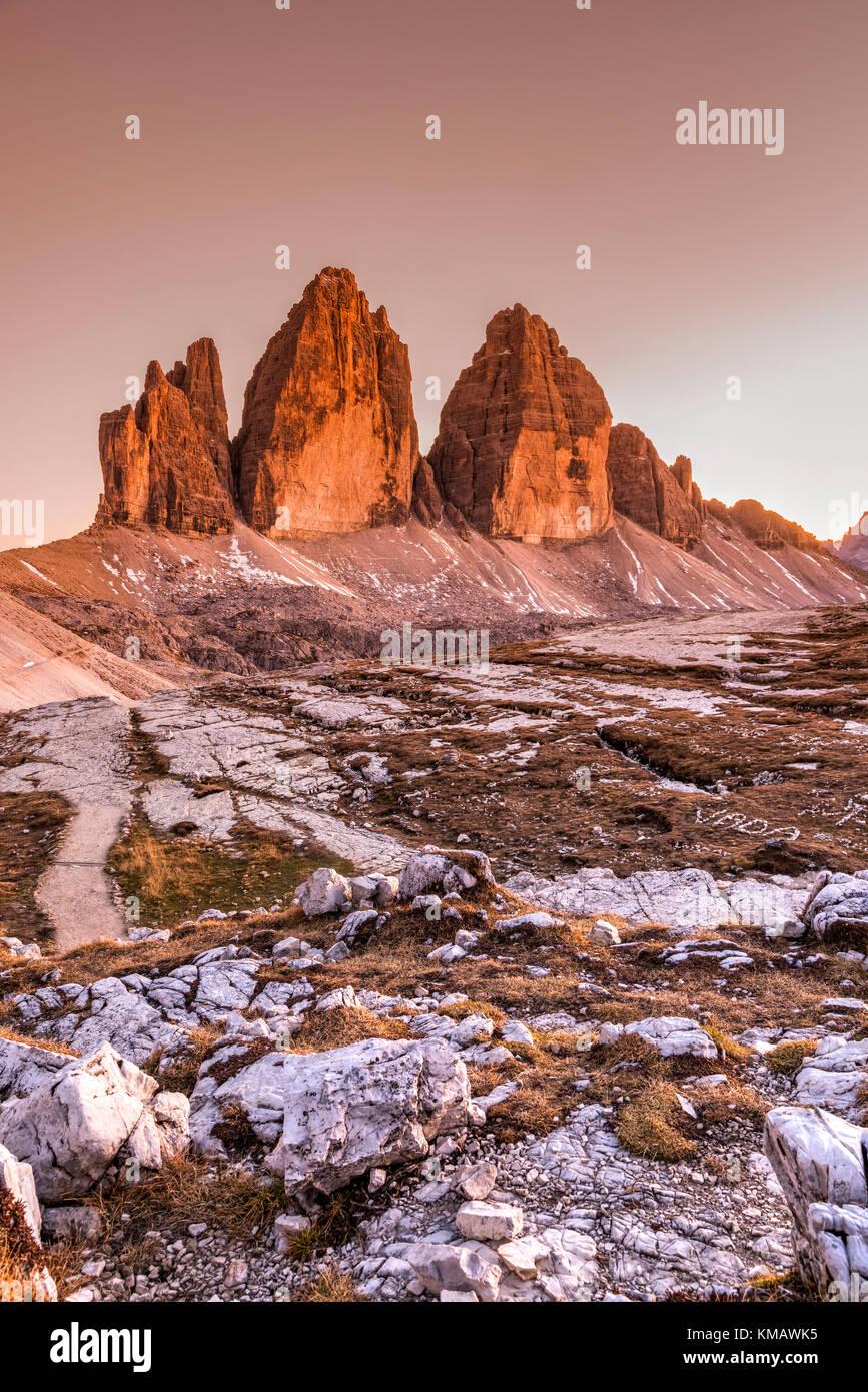 Tre Cime di Lavaredo peaks or Drei Zinnen, Dobbiaco - Toblach, Trentino - Alto Adige or South Tyrol, Italy - Stock Image