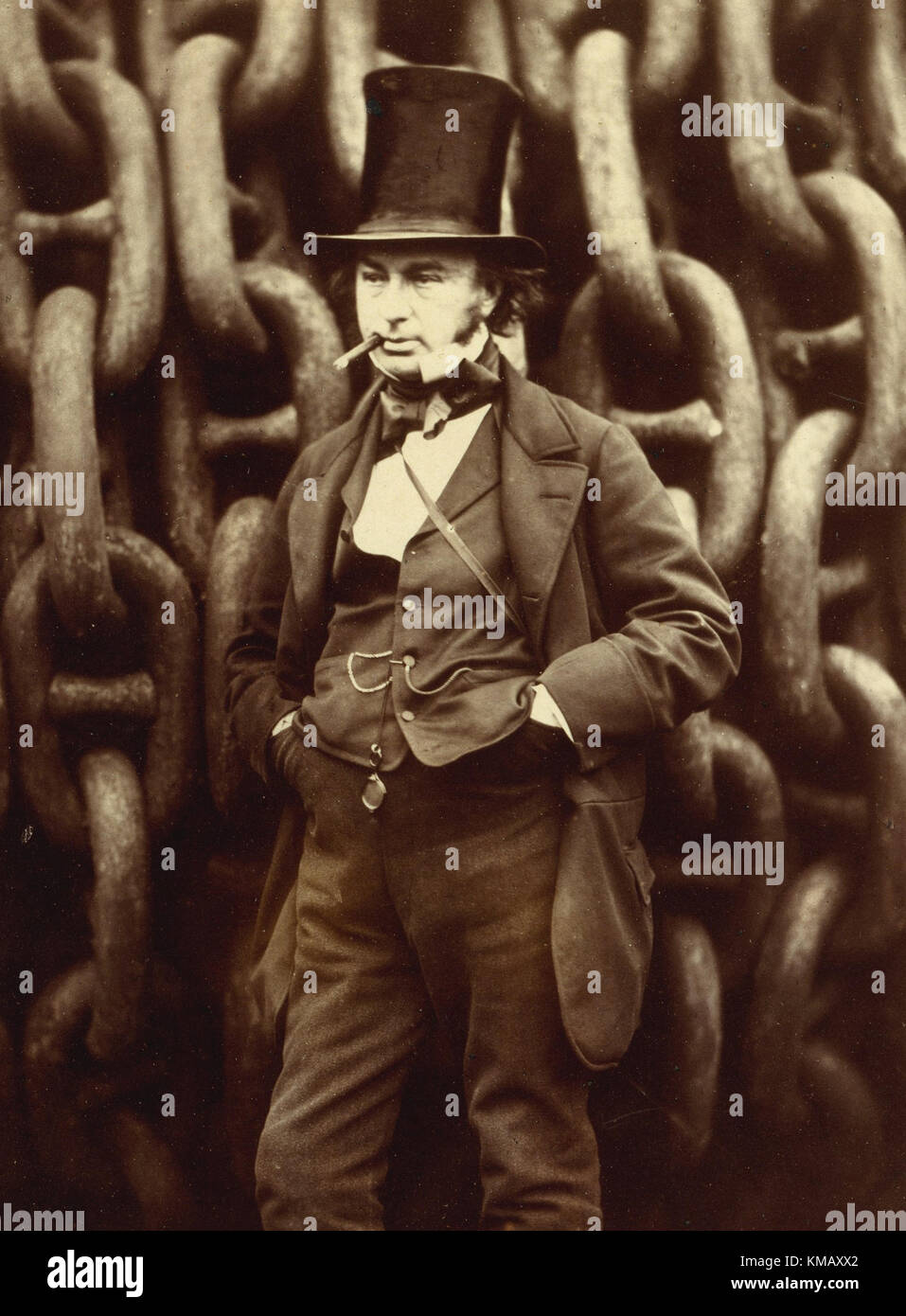 Isambard Kingdom Brunel portrait standing by launch chains of the Great Eastern by Robert Howlett at Millwall 1857 - Stock Image