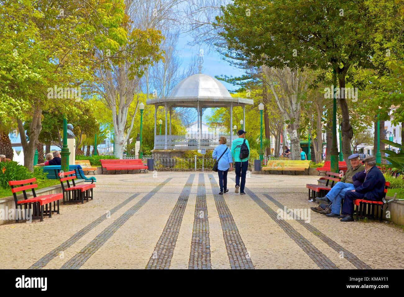 Garden and Bandstand, Tavira, Eastern Algarve, Algarve, Portugal, Europe Stock Photo