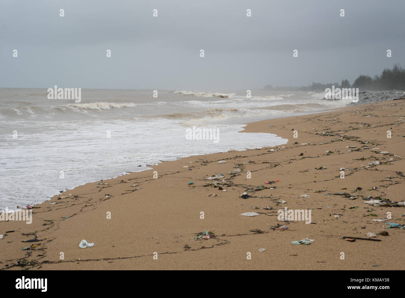 polluted beach. garbage and waste at beach Stock Photo