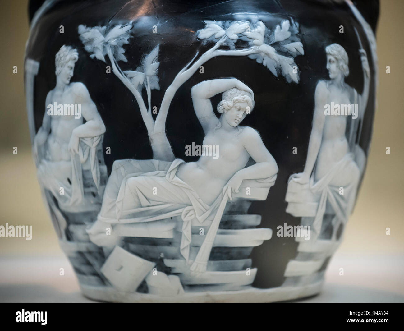 London. England. The Portland Vase, detail depicting mythological scenes of love and marriage, British Museum, from Rome, Italy, ca. 5-25 A.D. Stock Photo