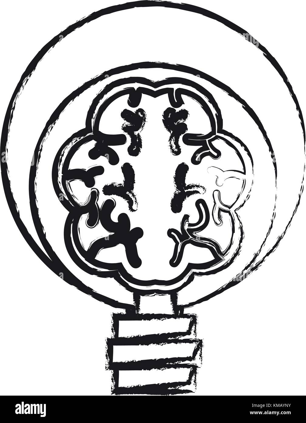 Human brain in lightbulb - Stock Image