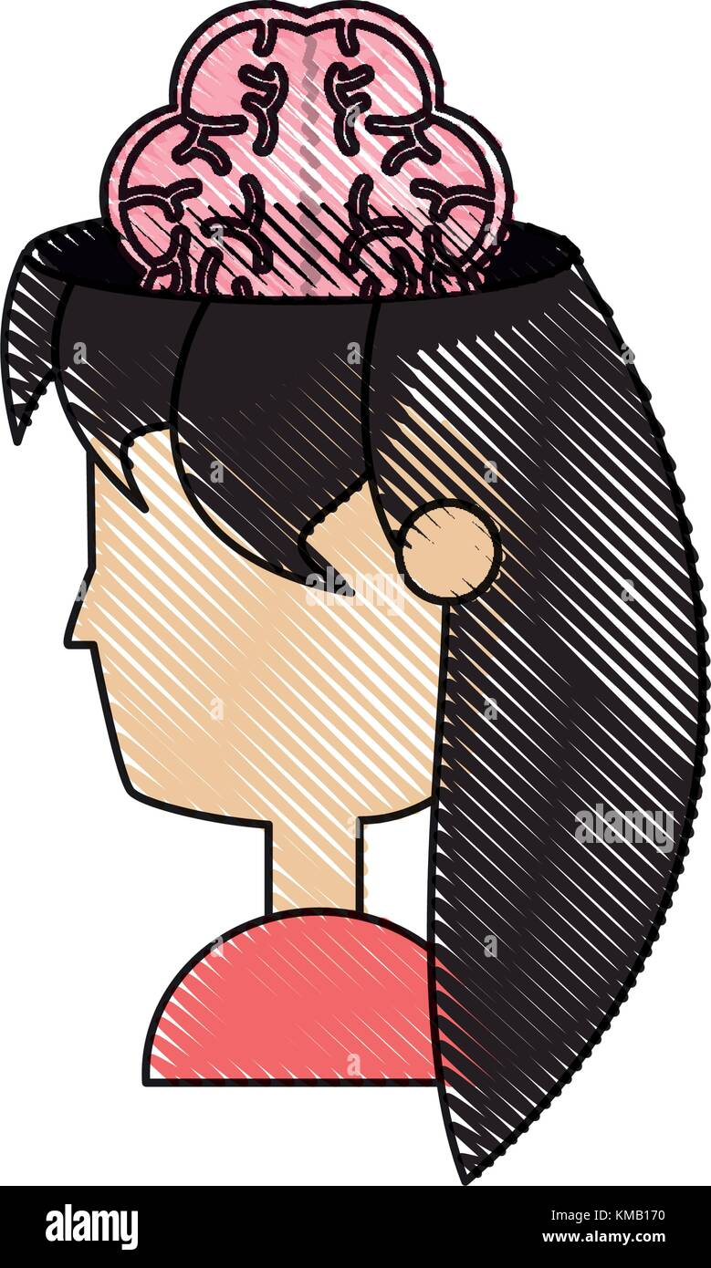 woman head and brain icon - Stock Image