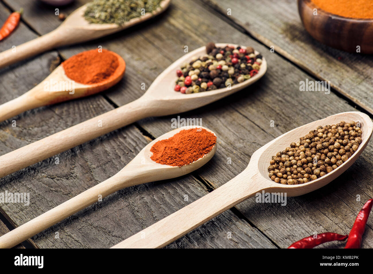 Wooden ladles with different spices - Stock Image