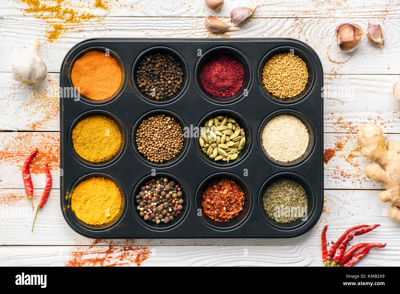 black tray with spices - Stock Image