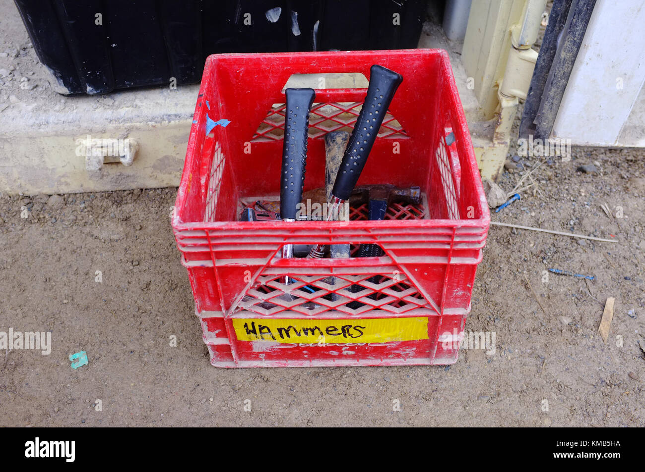 Red Box Construction Site Stock Photos Electrical Fuses On A Of Hammers Building In The Canadian City London Ontario