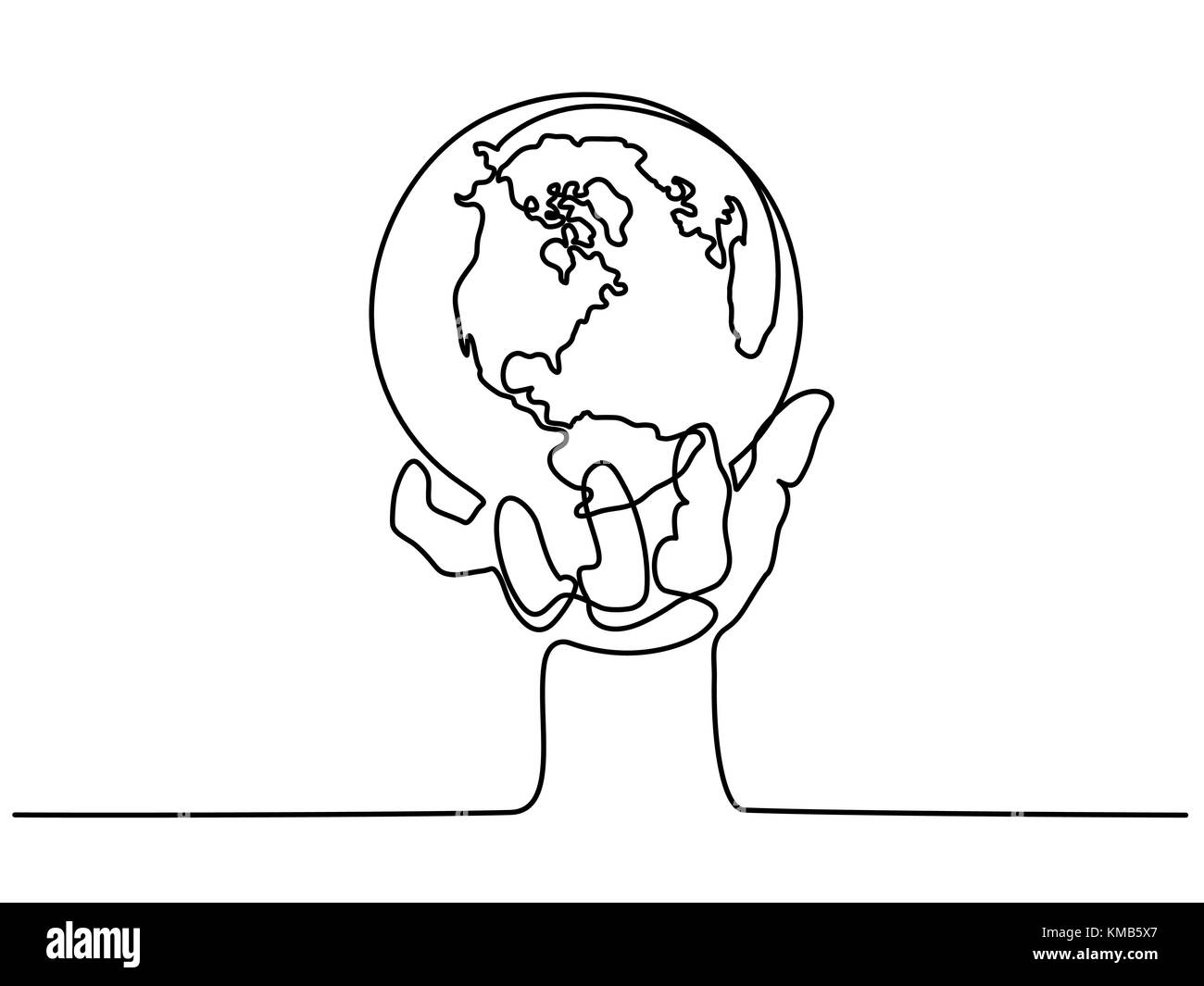 Globe of the Earth in human hand - Stock Image