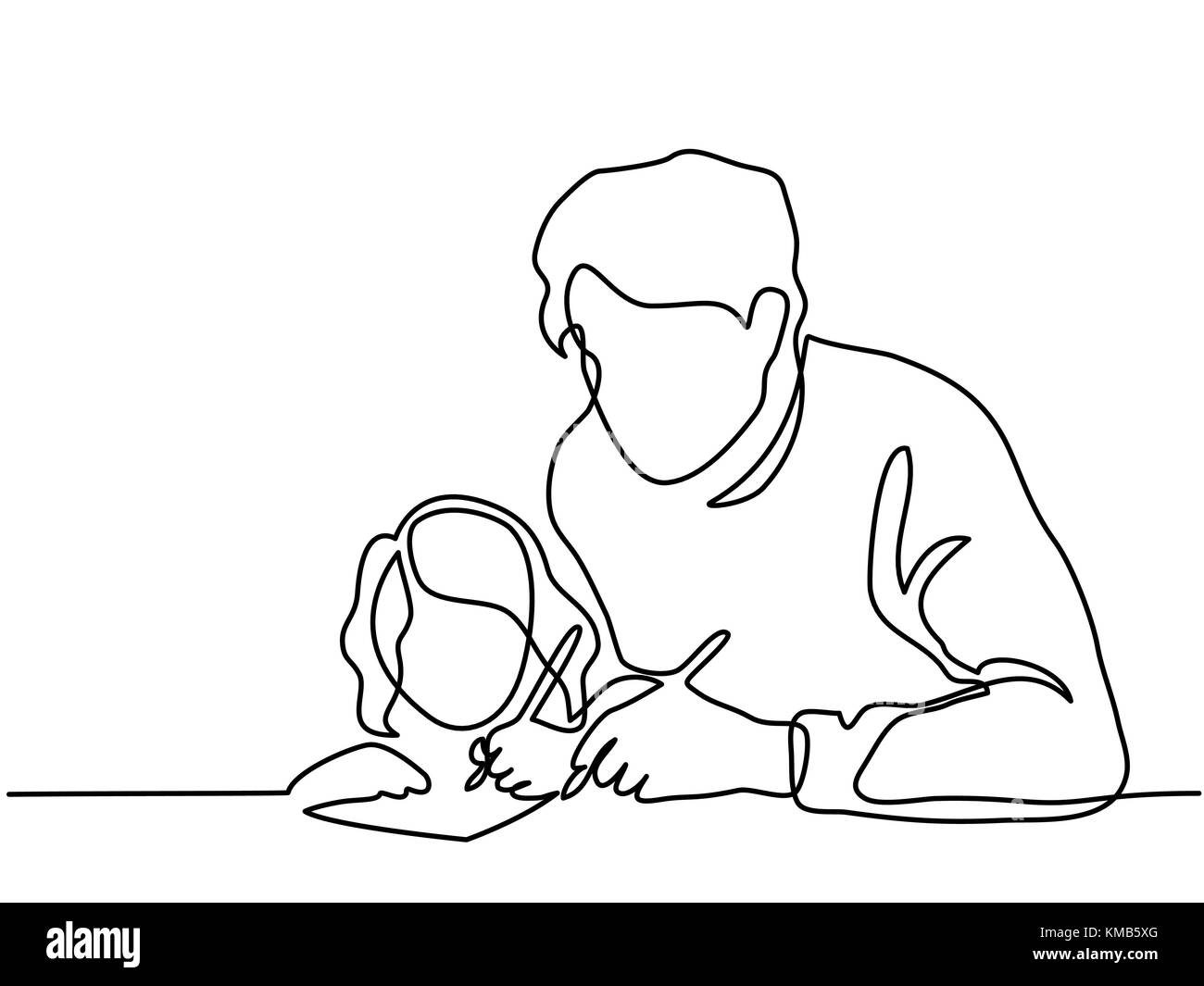 Father And Small Daughter Writing Letter To Santa Stock Vector Art