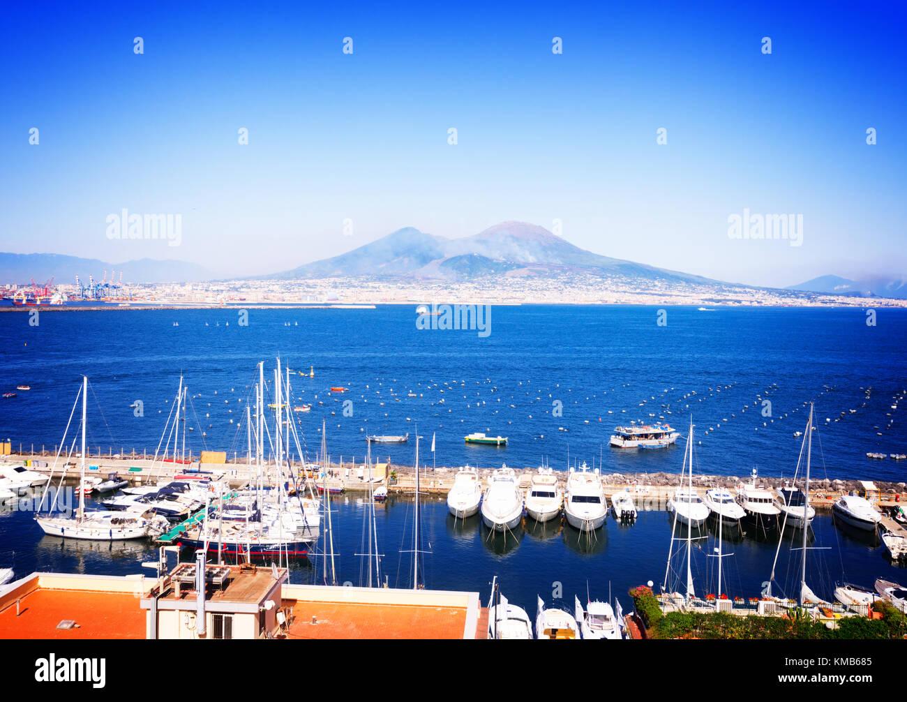Naples and Vesuvius volcano, Italy - Stock Image