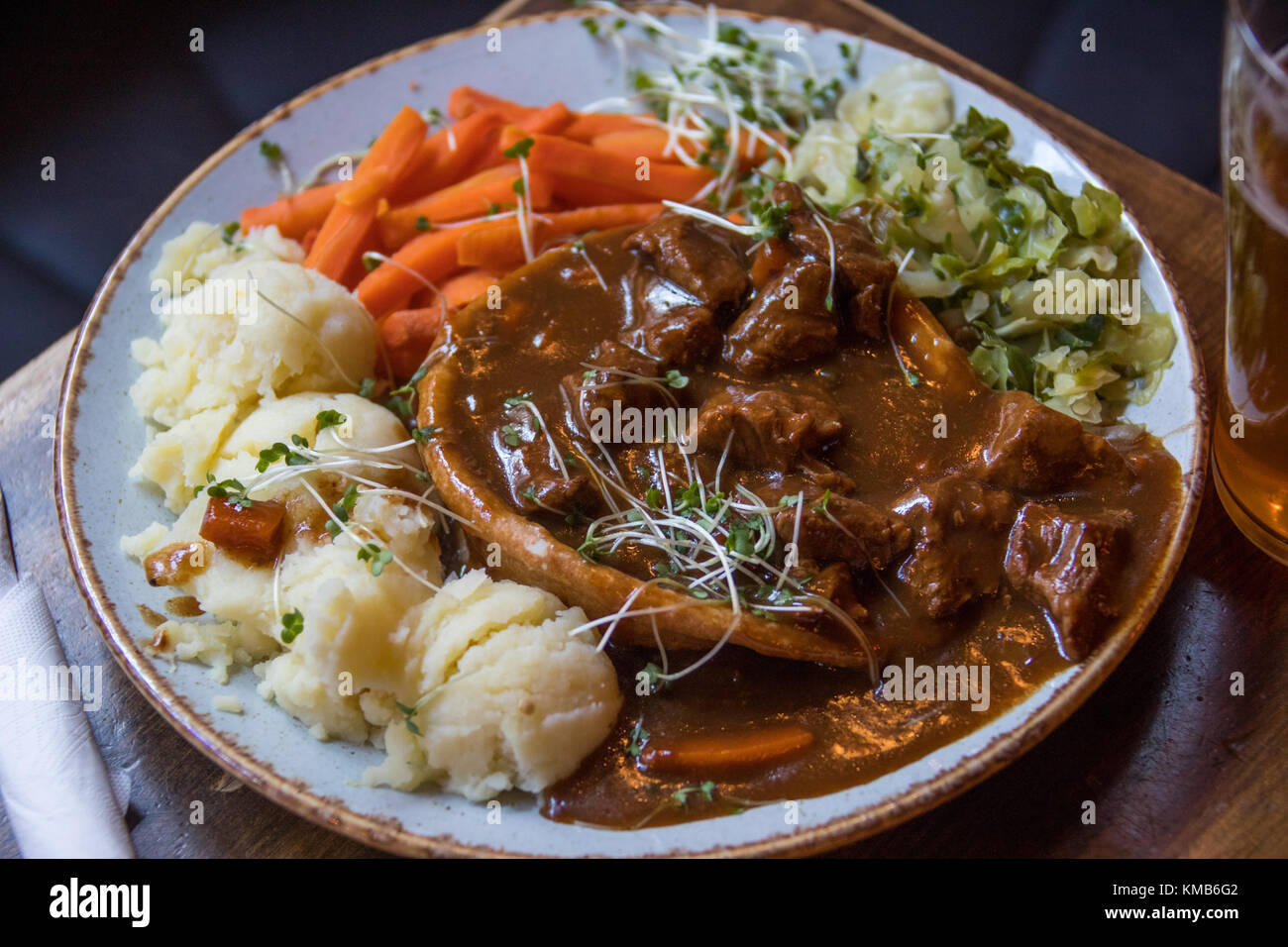 Beef and Guiness Pie at the Long Stone Irish Pub, Dublin, Ireland - Stock Image