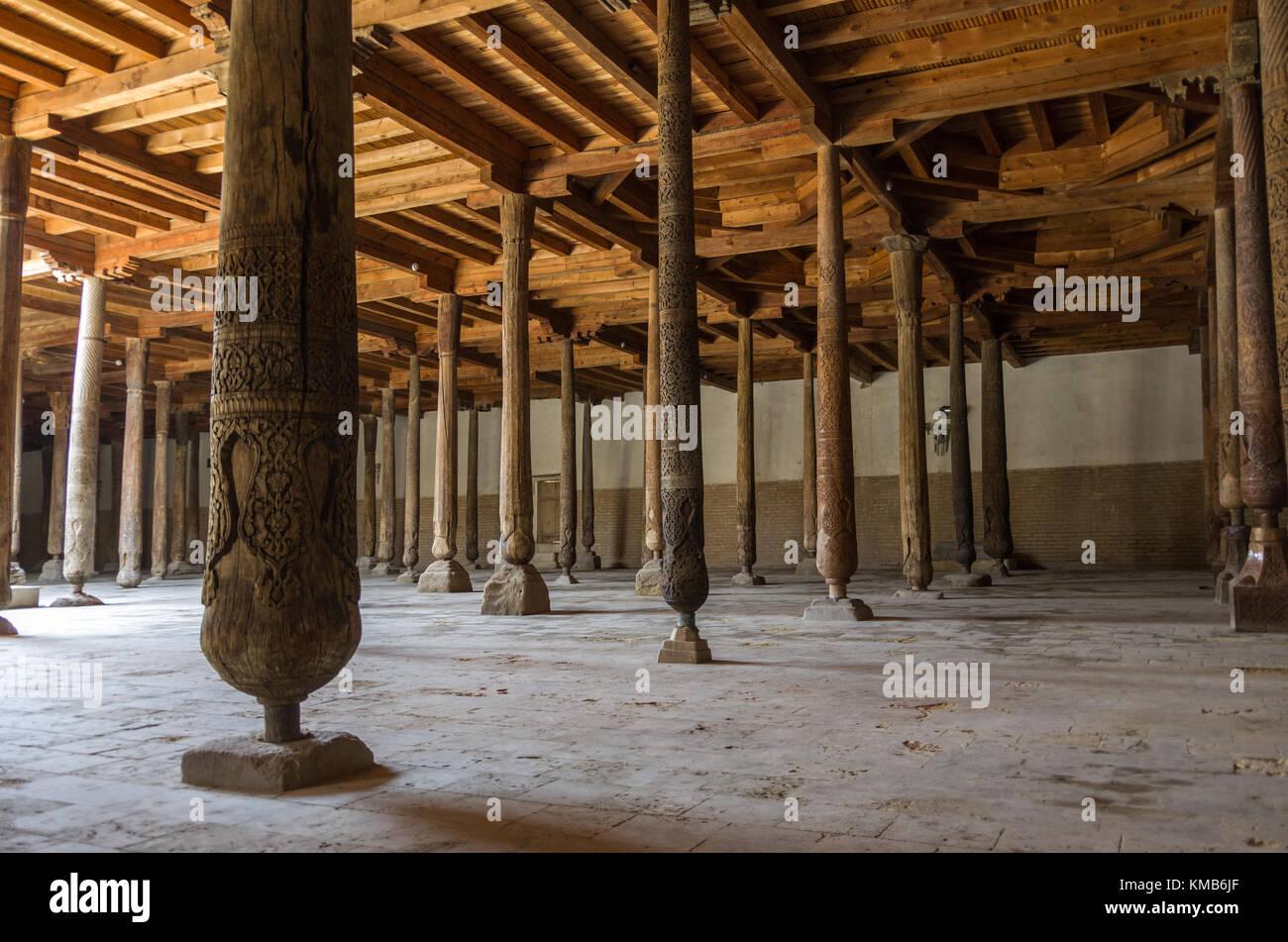 Khiva, Uzbekistan, April 30, 2015:  Interior of the Juma Mosque. - Stock Image