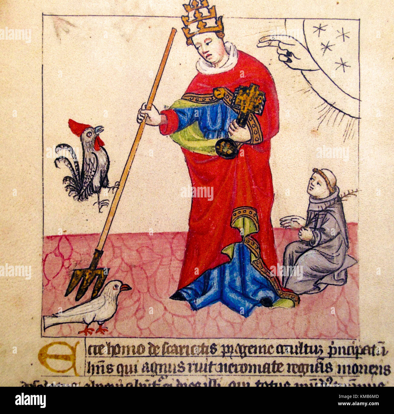 Italy Emilia Romagna Bologna  Archiginnasio Library Pope Boniface VII with a trident tries to hit the dove that - Stock Image