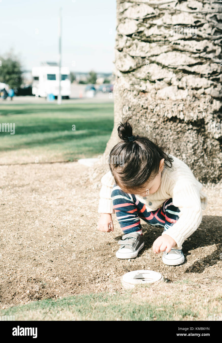 toddler collecting grass into a drain pipe - Stock Image