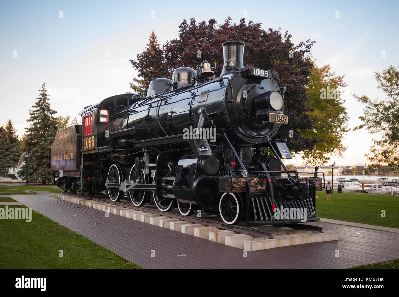 Engine 1095 or The Spirit of Sir John A is a steam locomotive that resides at Confederation Park in Kingston, Ontario, Stock Photo