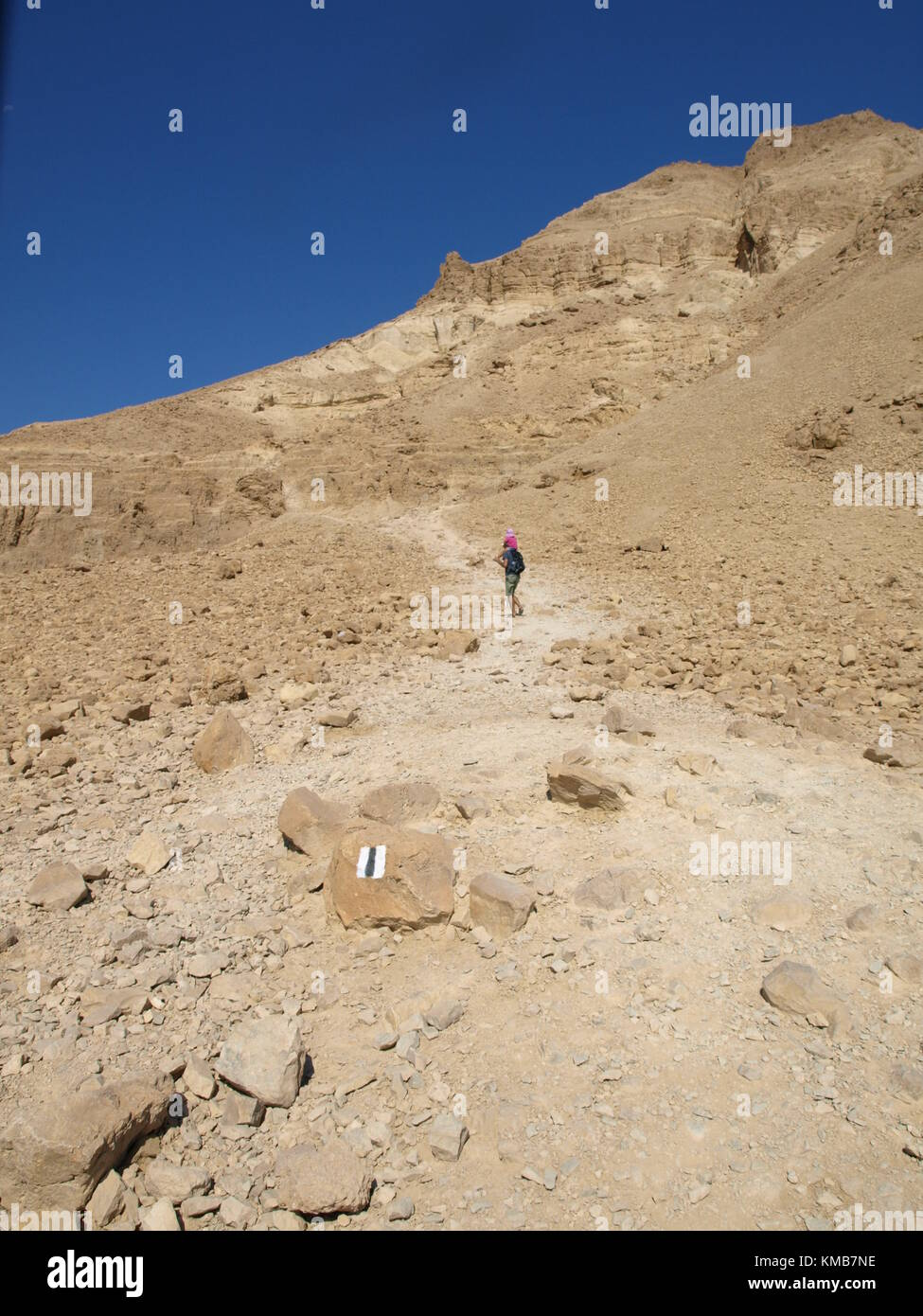 a hiking child going uphill a mountain Stock Photo