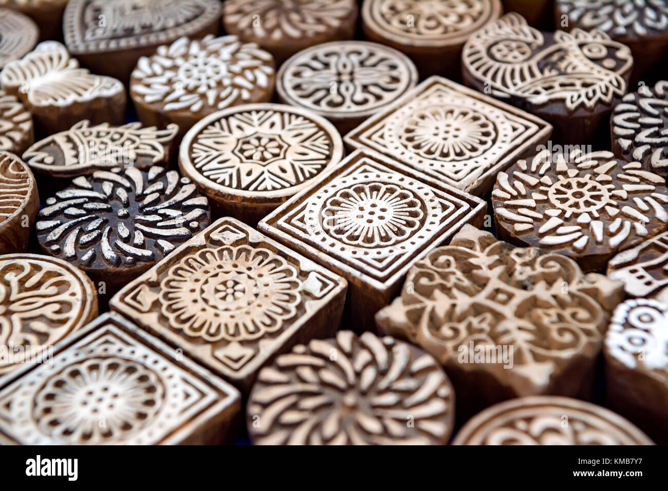 Close up stamp for dyeing cloth - Stock Image