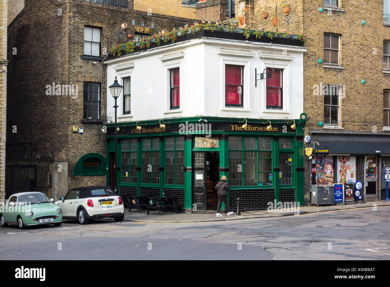 The Horseshoe pub public house bar, Clerkenwell Close, London, UK - Stock Image