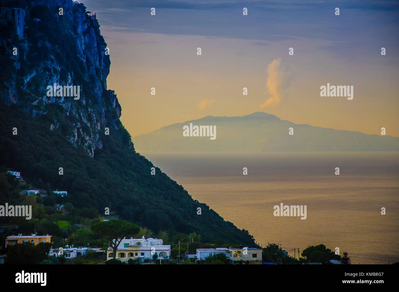 From the coast of capri you can see Vesuvius in the bay of Naples with some fumaroles - Stock Image