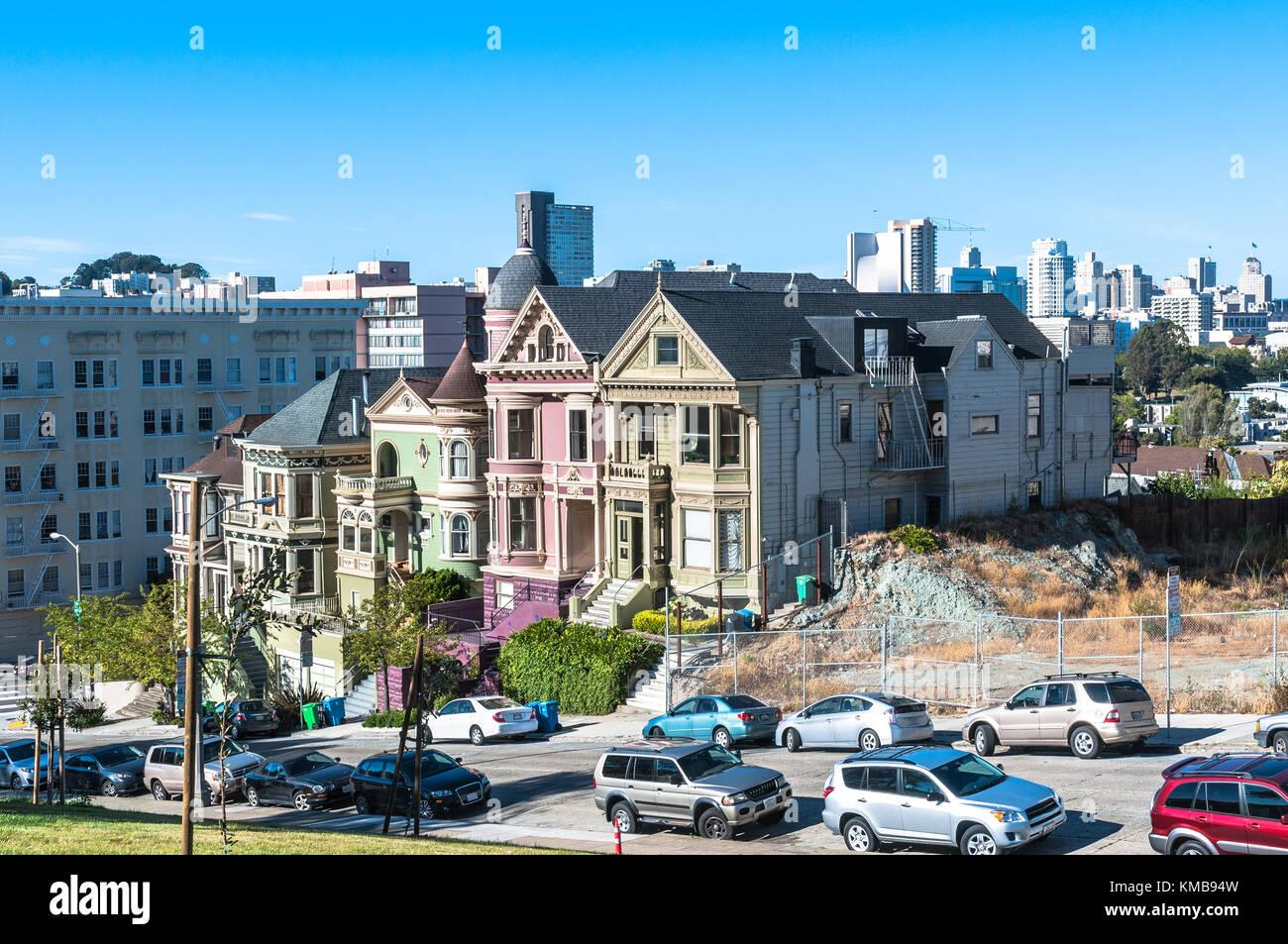 San Francisco,California,USA - June 16, 2017 : Victorian houses in Alamo Square Stock Photo
