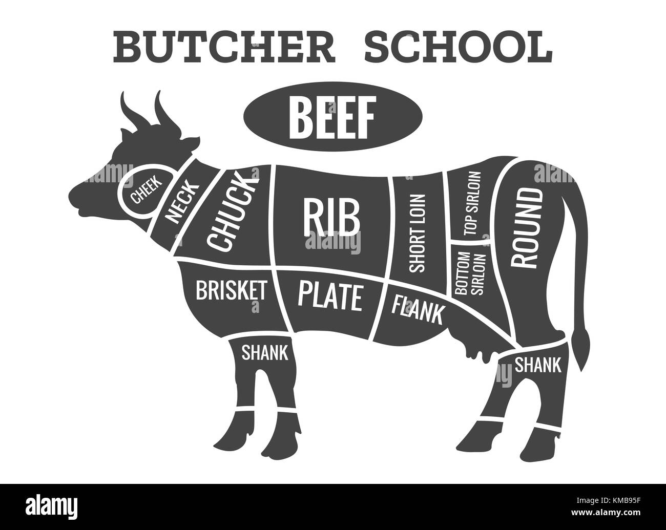 Cow butcher diagram. Cutting beef meat or steak cuts diagram chart for restaurant poster vector illustration - Stock Image