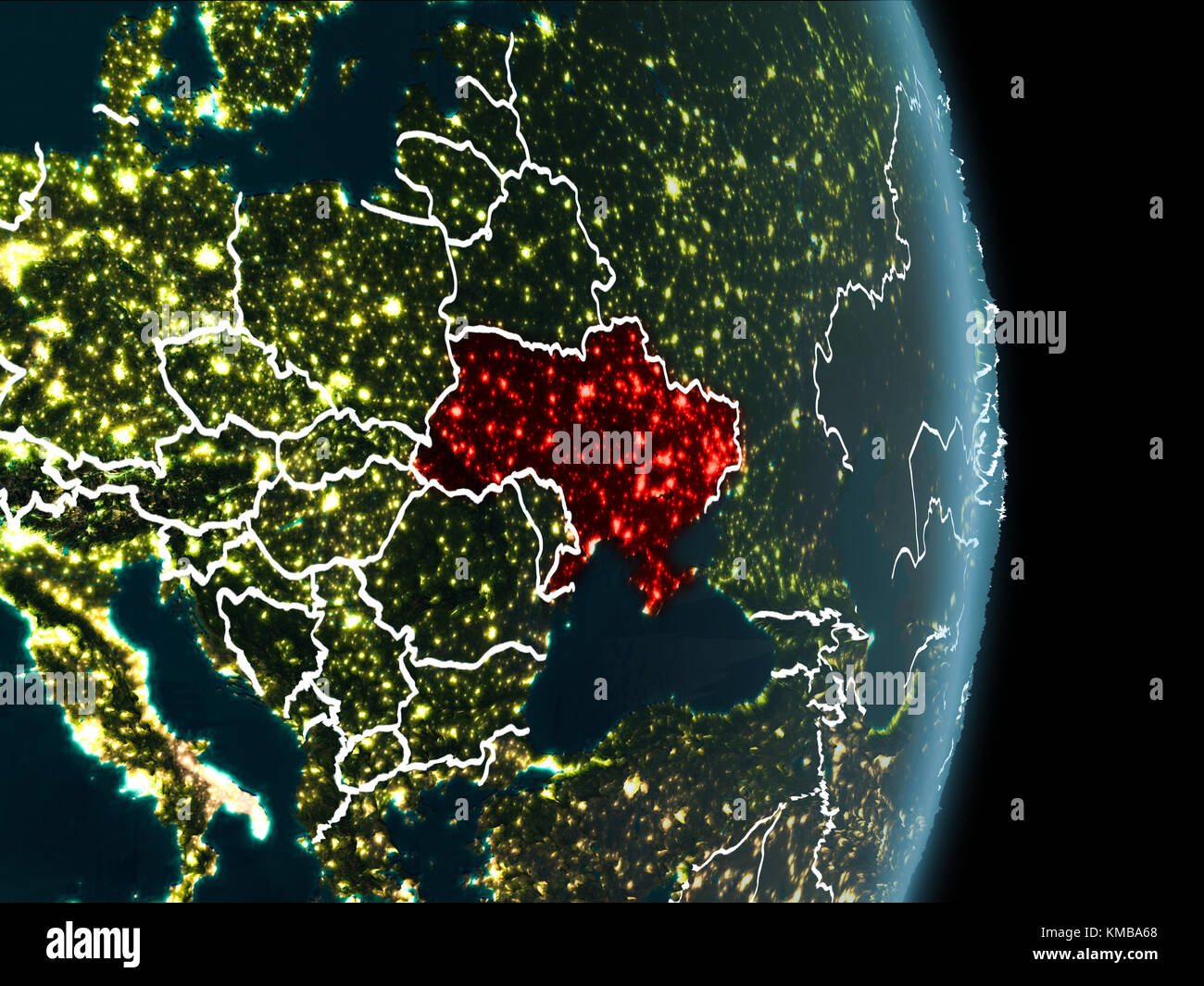 map of ukraine in red as seen from space on planet earth at night with white borderlines and city lights 3d illustration elements of this image furn