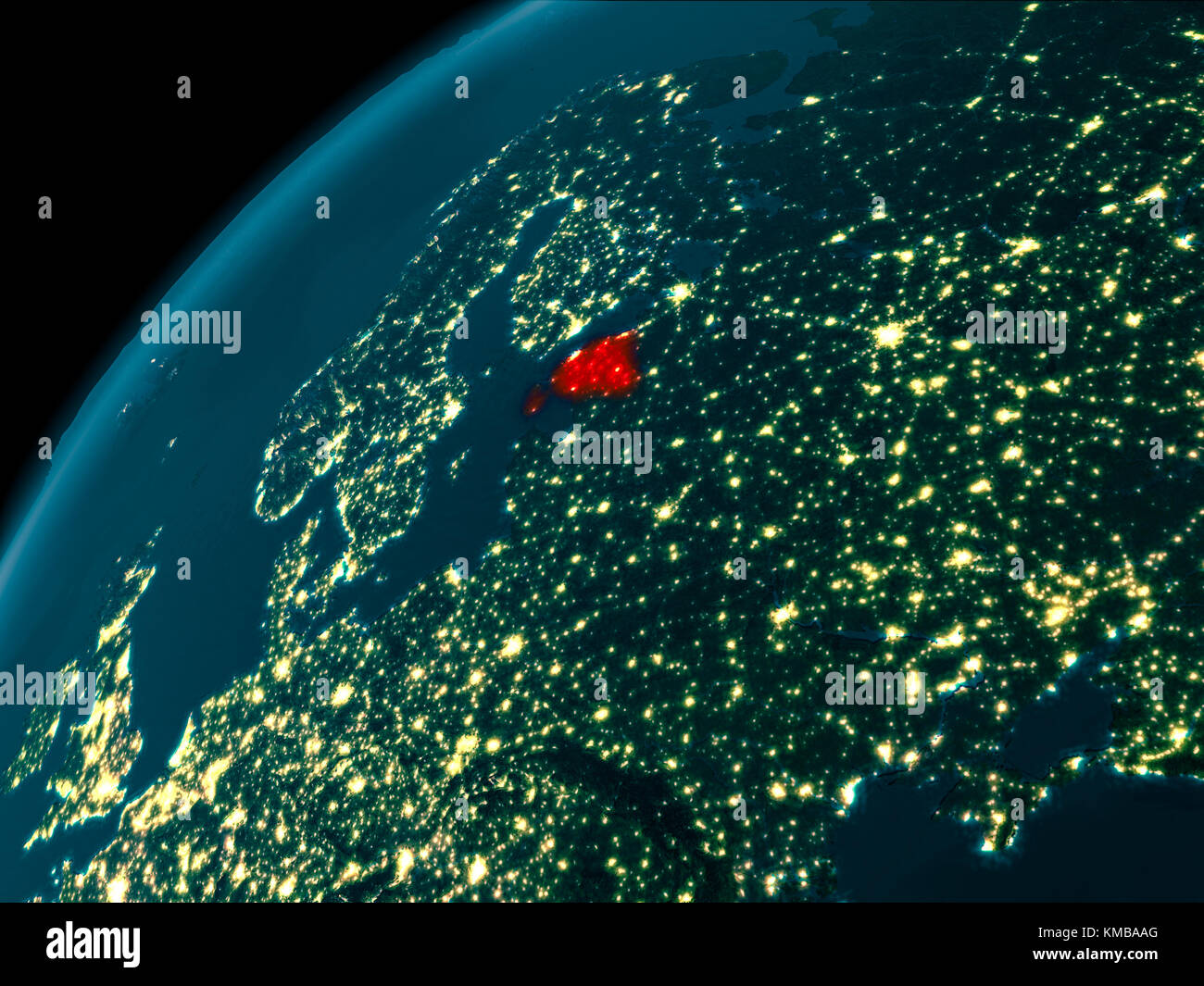 Night map of estonia as seen from space on planet earth 3d stock night map of estonia as seen from space on planet earth 3d illustration elements of this image furnished by nasa gumiabroncs