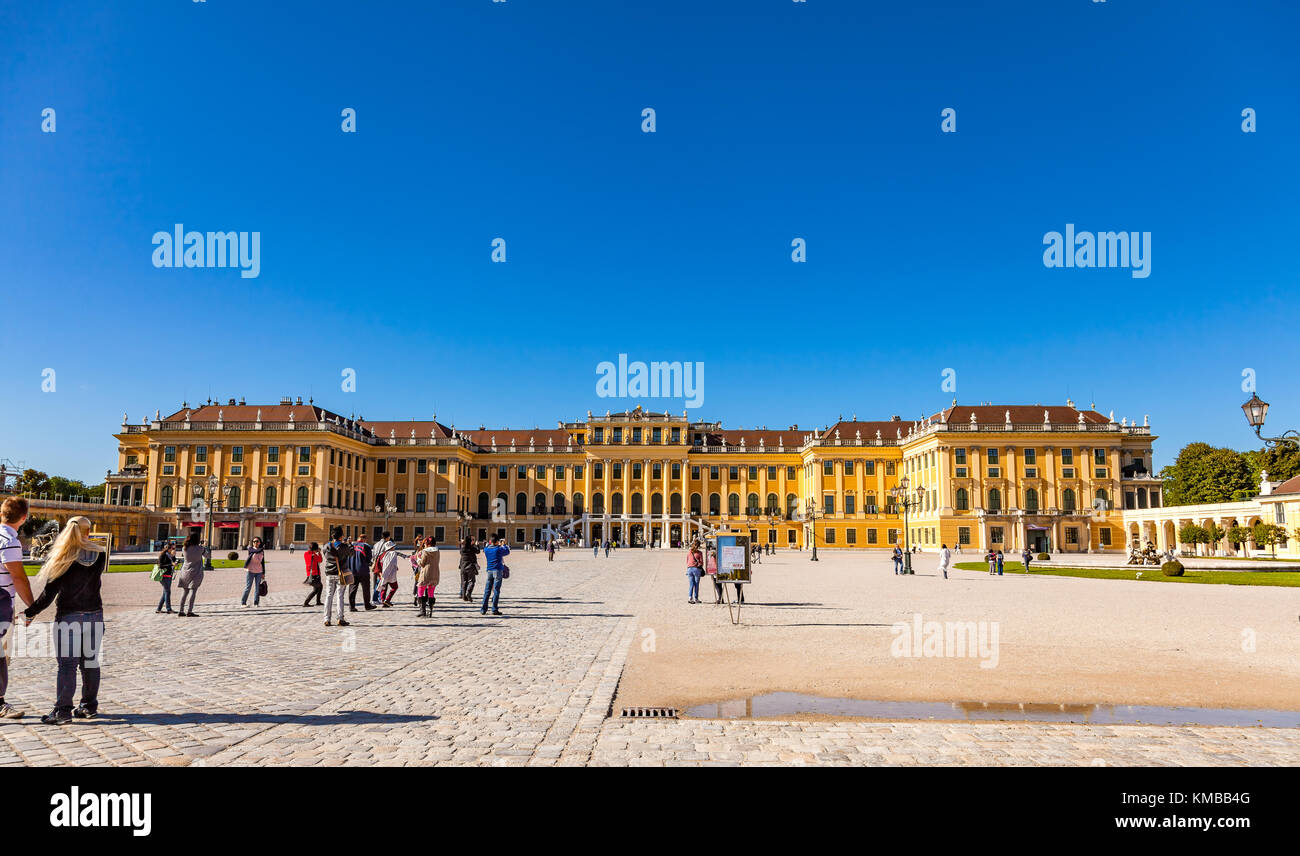 Vienna, Austria - August 9, 2011 :  Schonbrunn Palace in Vienna, Austria, one of the most popular tourist attractions - Stock Image