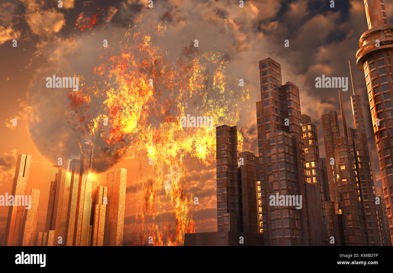 A Nuclear Explosion Going Off In A City. - Stock Image