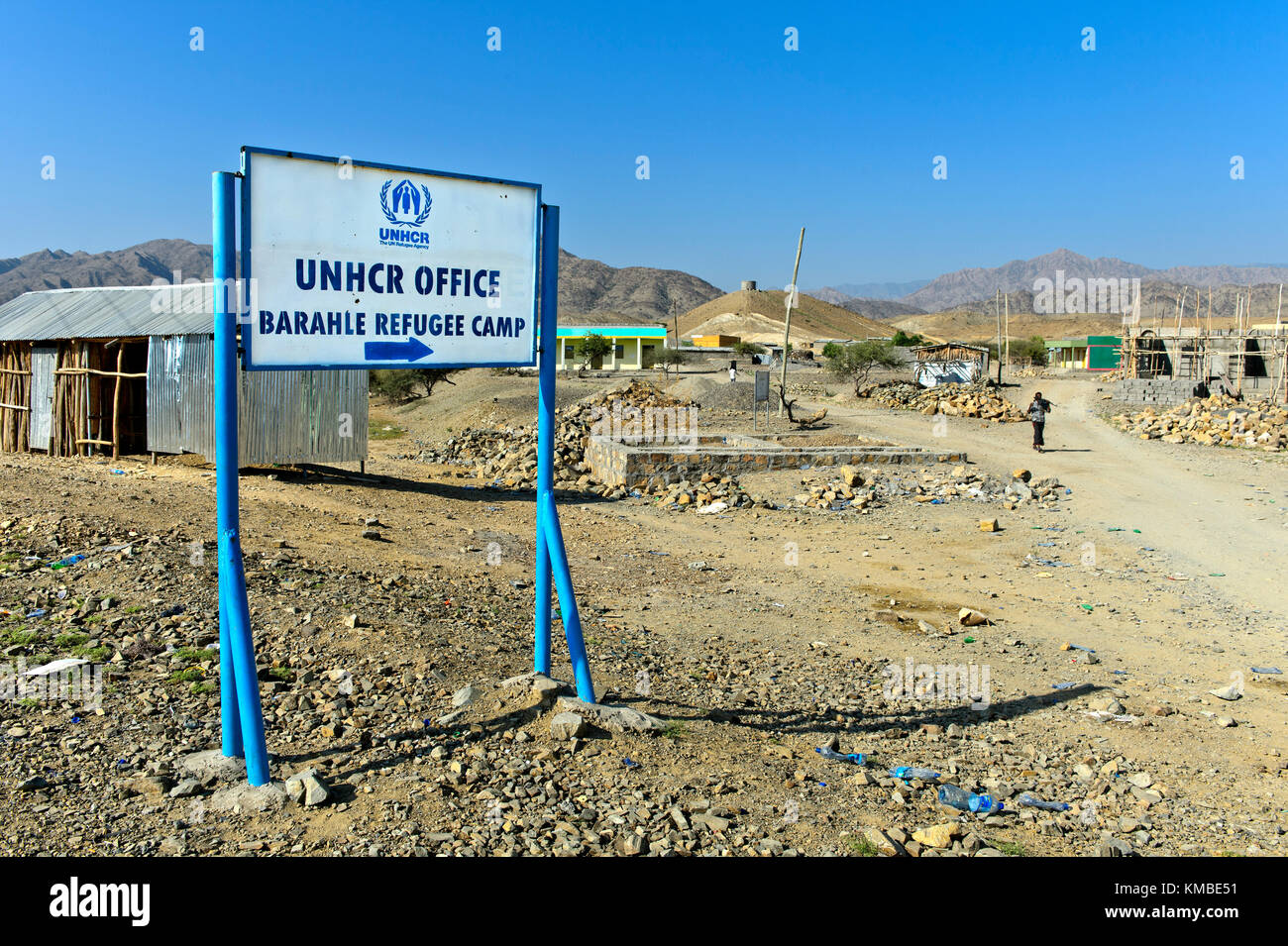 At the UNHCR Barahele Refugee Camp for refugees and asylum-seekers from Eritrea, Berhale, Afar Region, north-eastern - Stock Image
