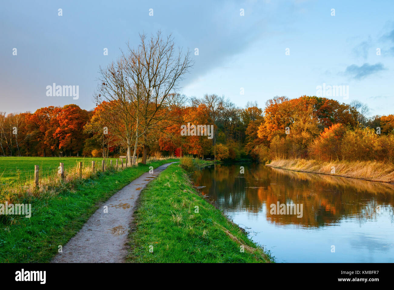 "Towpath on the bank of the Kromme Rijn river (""Crooked Rhine"") with the forest of the Amelisweerd estate in autumn - Stock Image"