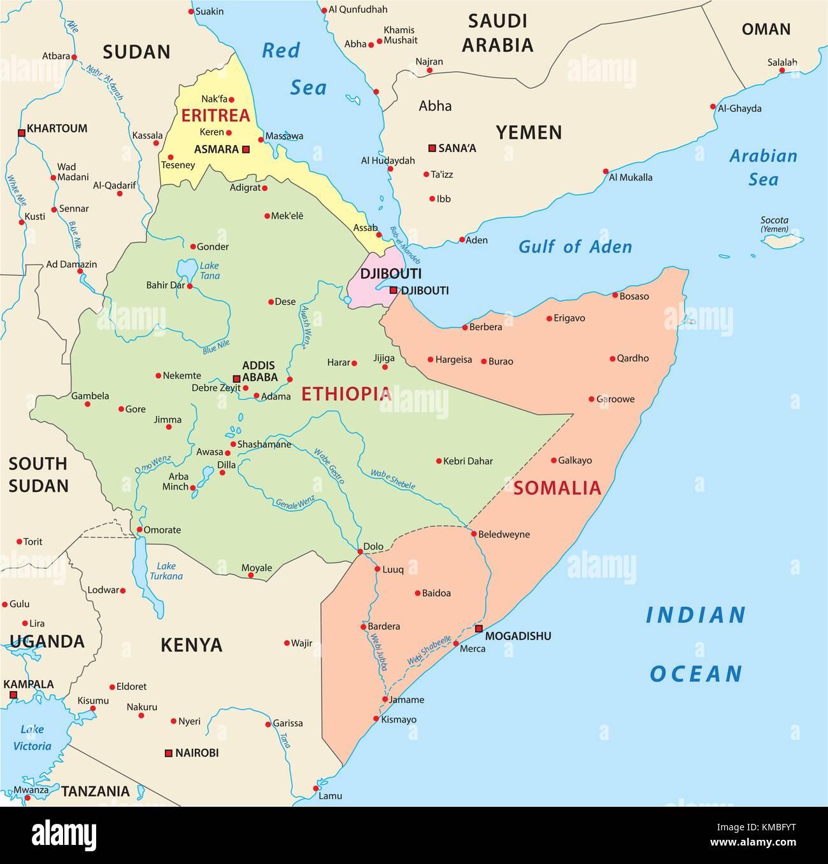 horn of africa vector map - Stock Vector