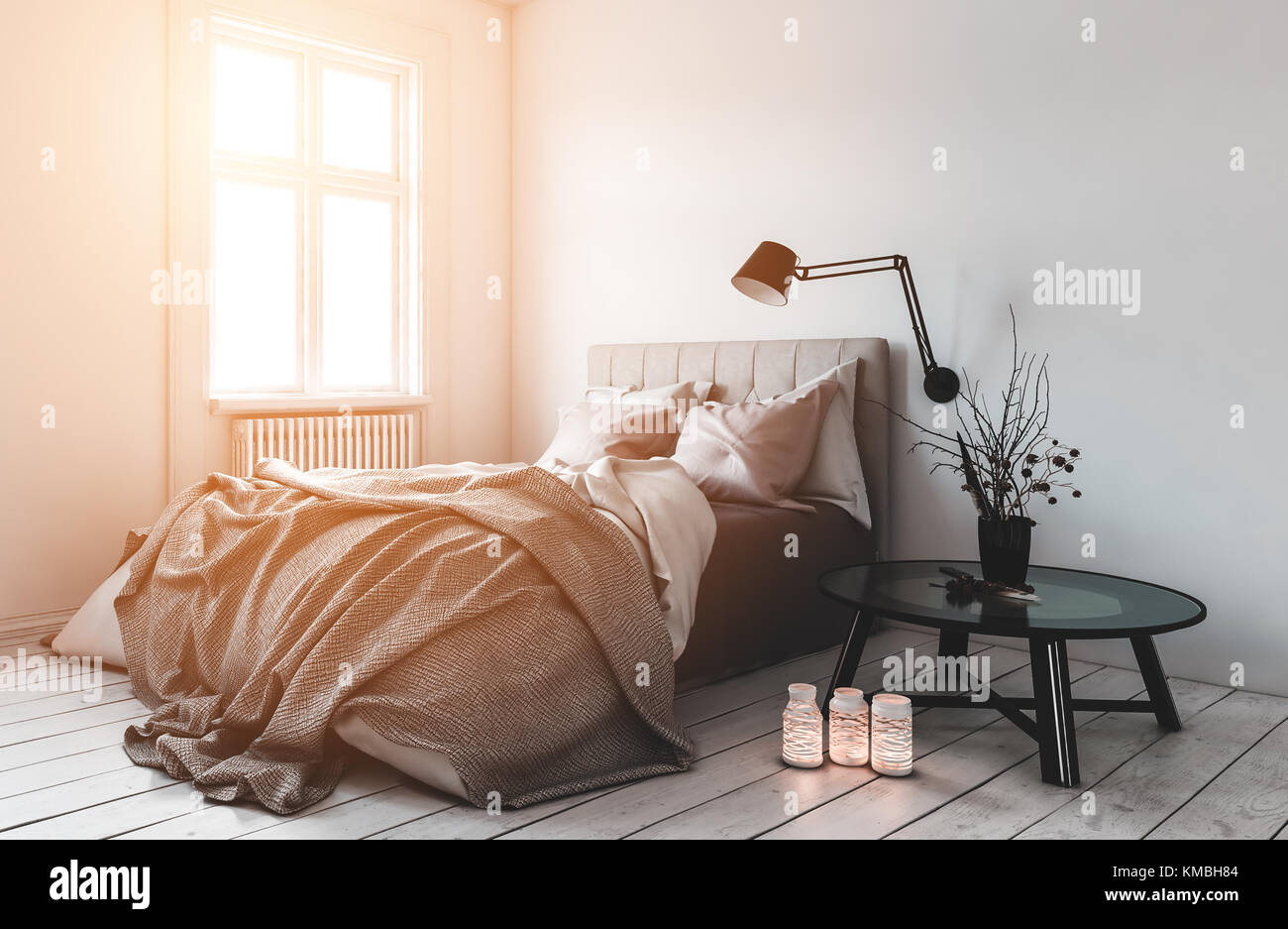3D rendering of single messy bed in room with radiators under windows. Lit candles on hardwood floor. - Stock Image
