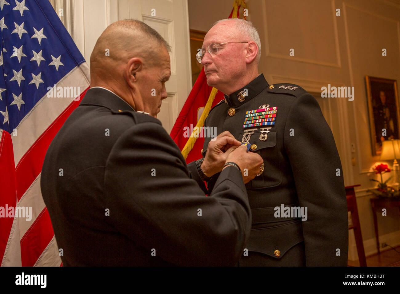 Commandant of the Marine Corps Gen  Robert B  Neller pins on