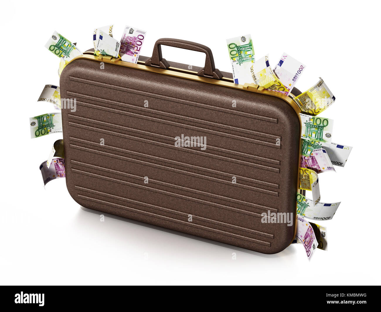 Euro piles inside briefcase isolated on white background. 3D illustration. - Stock Image