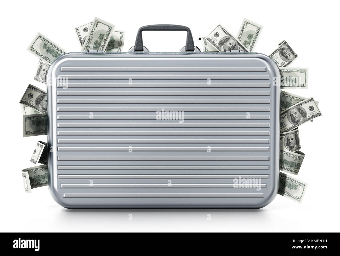 Dollar piles inside briefcase isolated on white background. 3D illustration. - Stock Image