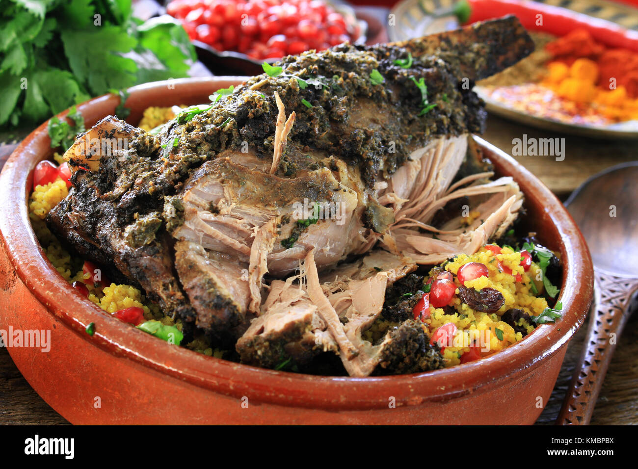 roast  moroccan lamb meal - Stock Image
