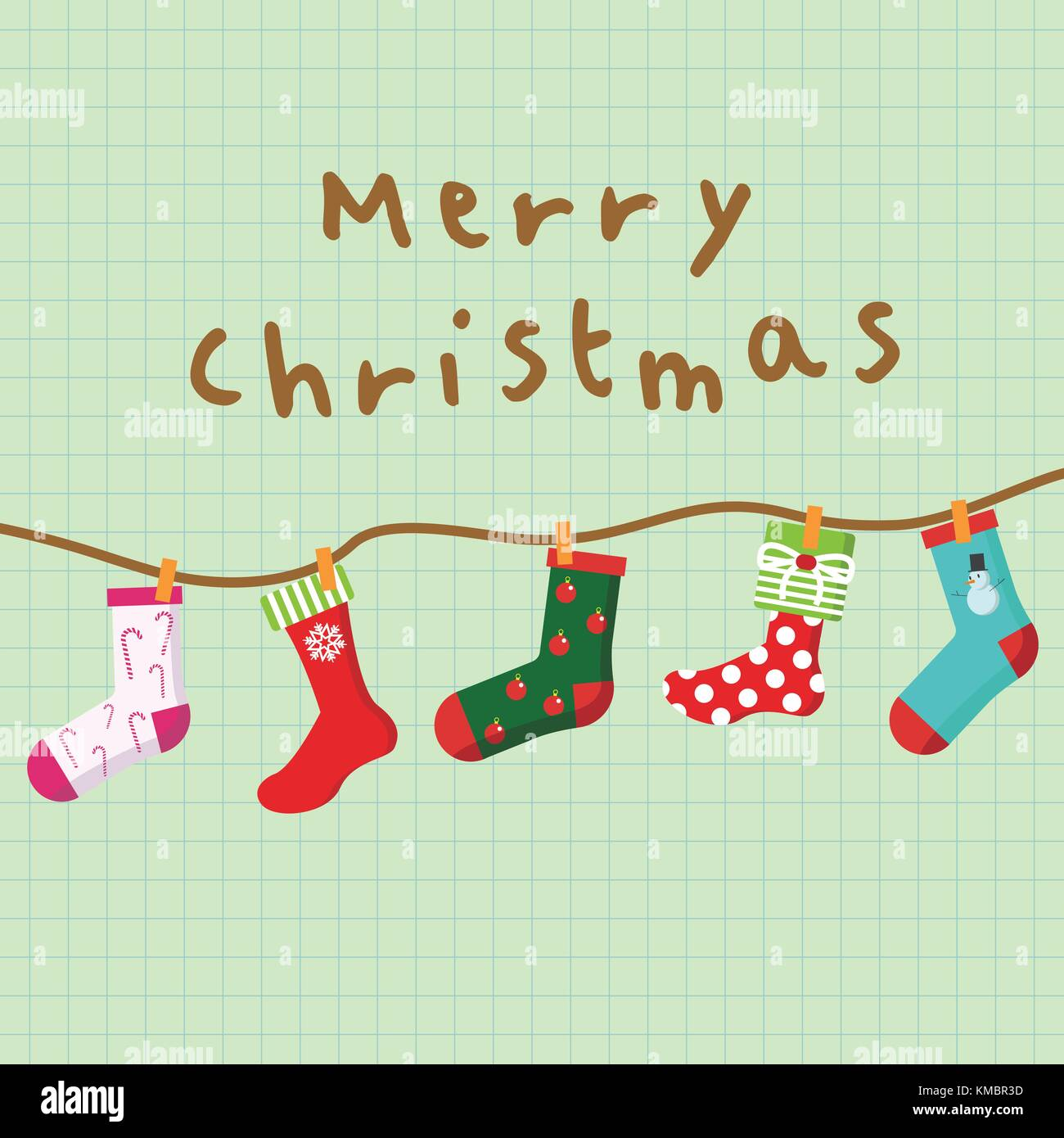 Merry Christmas Hanging Socks Card Background Vector Graphic Illustration  Design