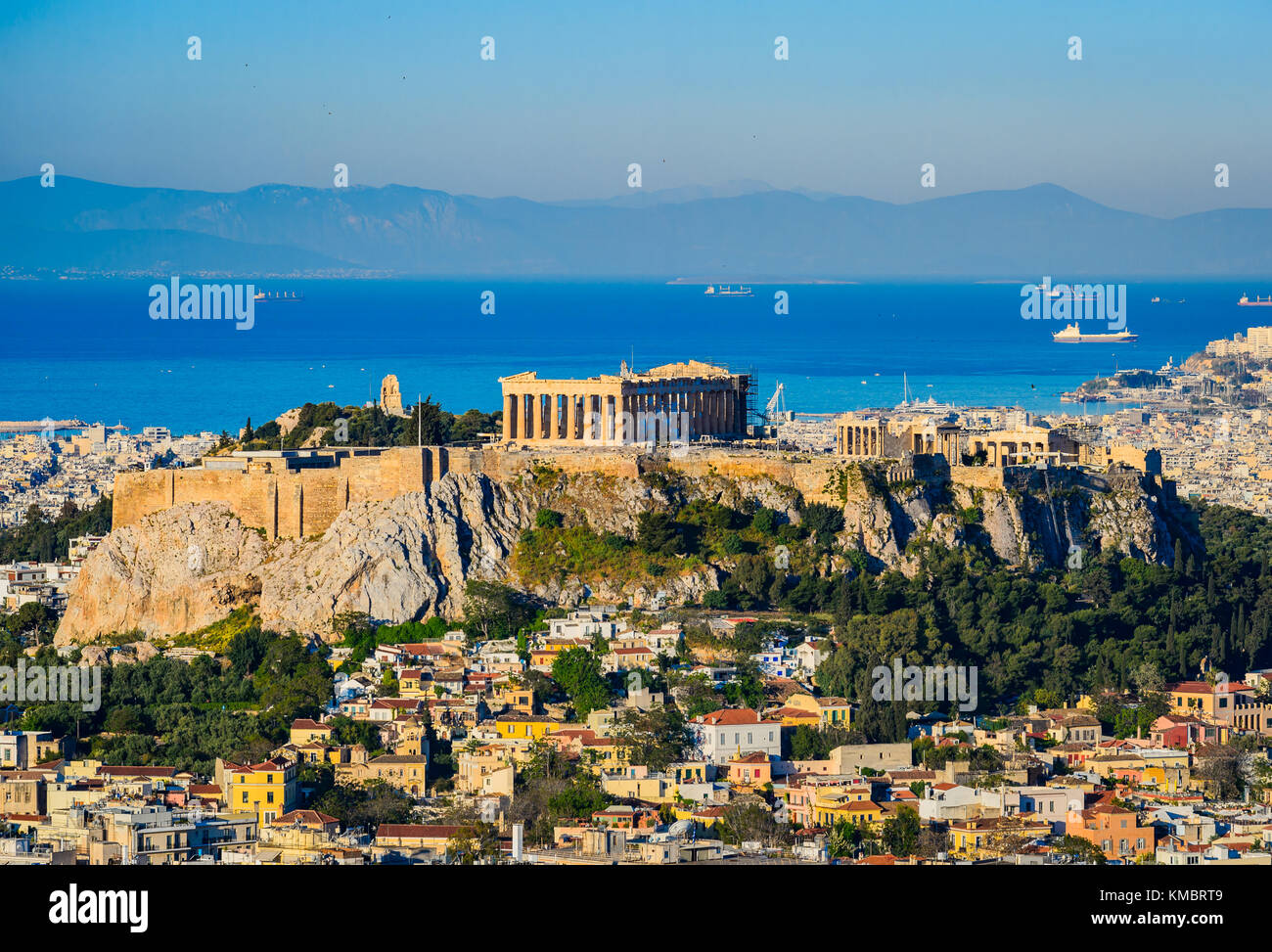 The Acropolis with the Parthenon in Athens, Greece - Stock Image