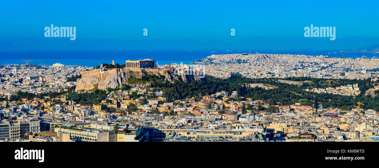Panorama with the Acropolis in Athens, the capital of Greece - Stock Image
