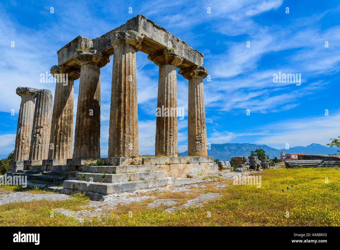 The ruins of the Apollo Temple in ancient Corinth, Greece Stock Photo
