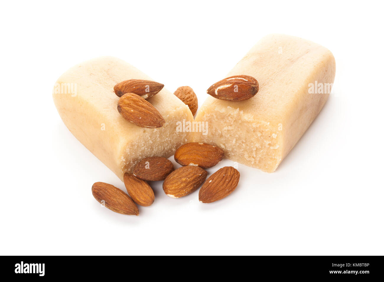 block of marzipan with almonds isolated on white background Stock Photo