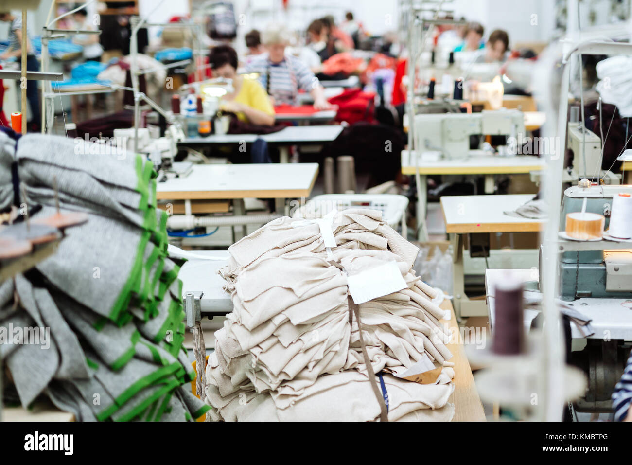 Sewing industry manufacturing - Stock Image
