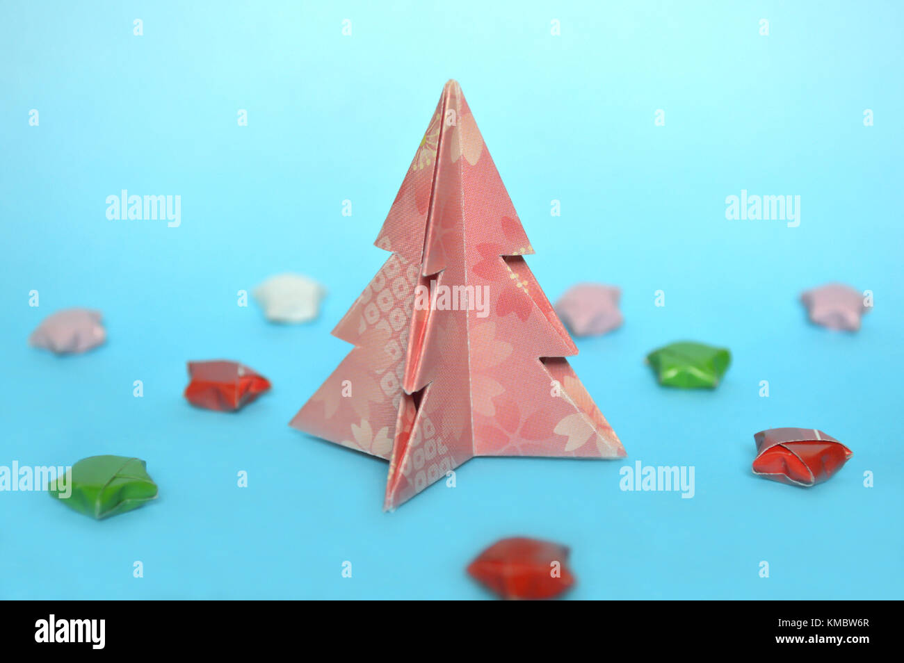 Origami Christmas Star Stock Photos Ornaments On A Diagram Tree Blue Background Image