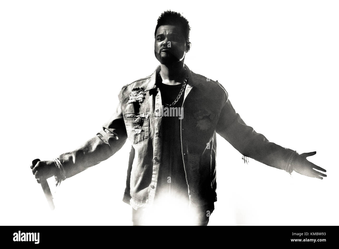 The Canadian singer, songwriter and recording artist The Weeknd performs a live concert at Lanxess Arena in Cologne. - Stock Image