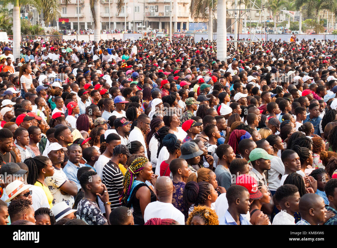 African Ethnicity crowd waiting for show in Luanda, Angola Stock Photo