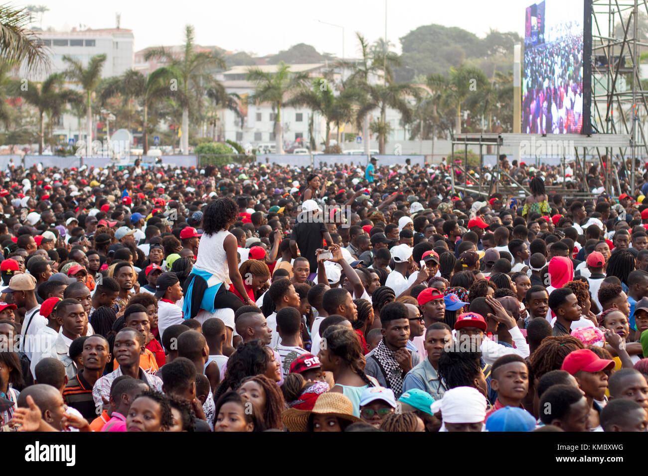 African Ethnicity crowd waiting for show in Luanda, Angola - Stock Image