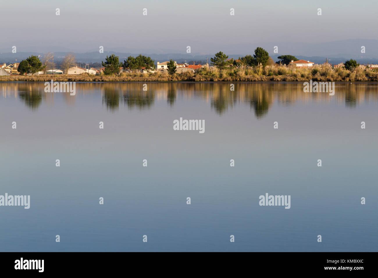 Riverside view of Aveiro's lagoon, an estuarine ecosystem in Portugal. - Stock Image
