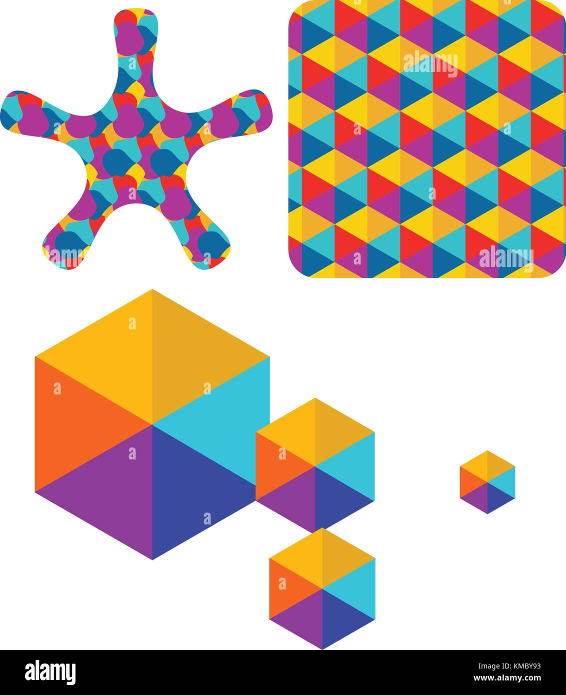 Set of abstract color box logo vector - Stock Image