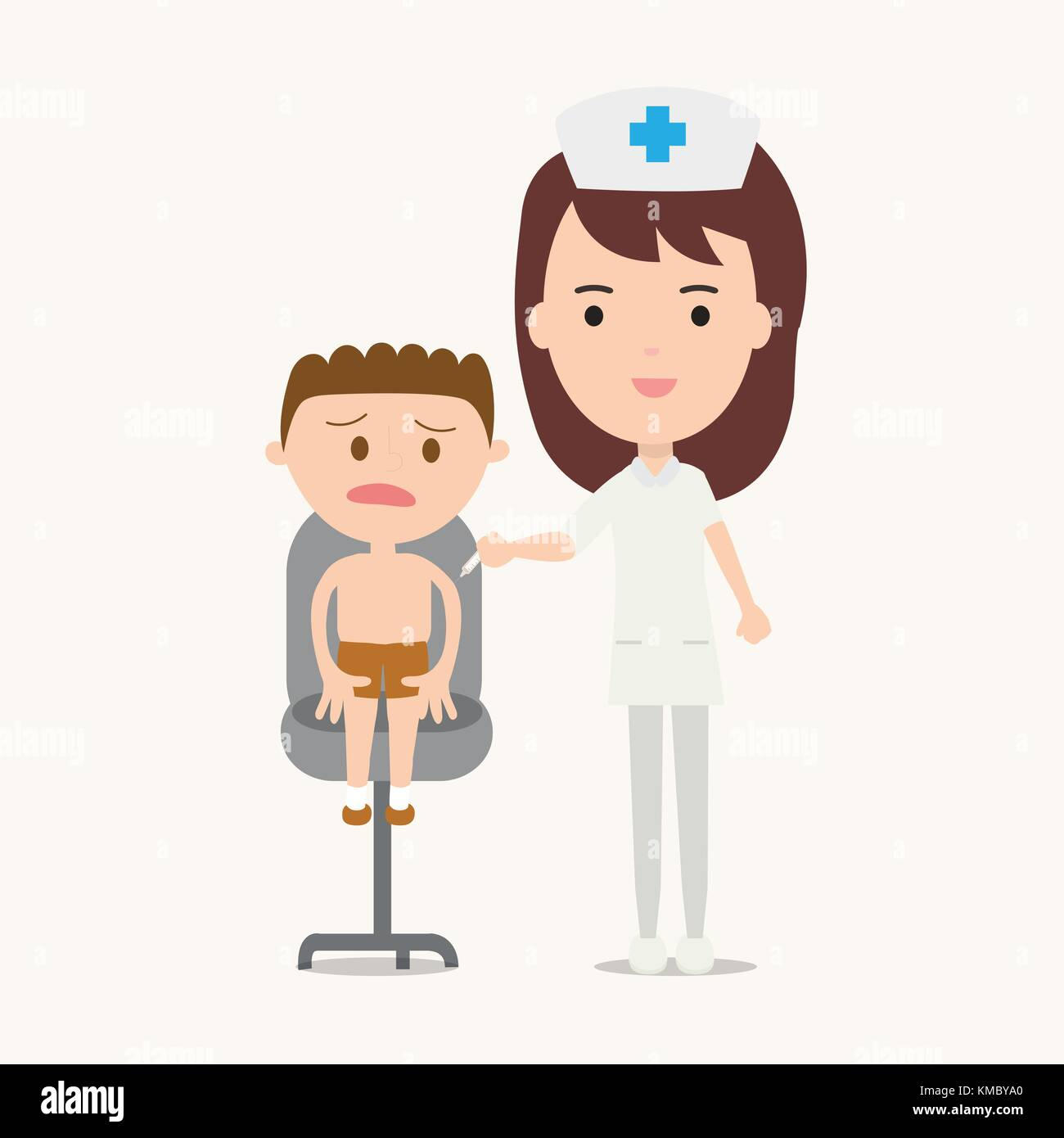 Nurse giving vaccination injection to boy vector illustration - Stock Vector